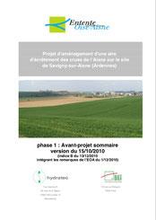 Projet d'aménagement d'une aire d'écrêtement des crues, Savigny-sur-Aisne, 2010