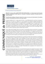 Communiqué du CEPRI, janvier 2018