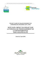 Note sur l'impact du projet sur le ponceau de franchissement de la D946, 2010