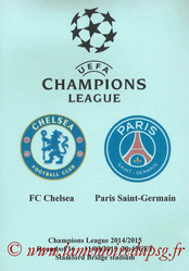 Programme pirate  Chelsea-PSG  2014-15