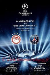 Programme  Olympiakos-PSG  2013-14