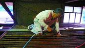 煤竹を固定する