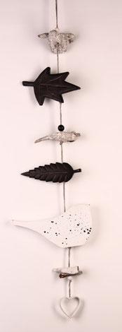 Girlande grau fensterschmuck türschmuck türkranz garland vogel
