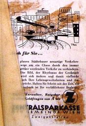 Inserat der Zentralsparkasse der Gemeinde Wien um 1956. Modernes Großstadtleben. Werbung: Sparbuch.