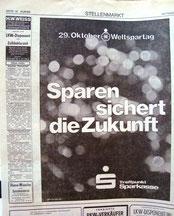 Weltspartag 1976. Sparen sichert die Zukunft. Inserat im Kurier (Heinz Traimer).