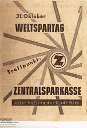 31. Oktober Weltspartag. Treffpunkt Sparkasse. Inserat vermutlich von 1955/1956.