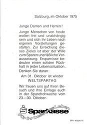 Für Ihr besseres Leben - Sparkasse. Salzburger Sparkasse (Weltspartag 1975). Inseraten-Entwurf für Zeitung.