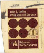 Jeden 6. Schilling zahlen Staat und Sparkasse beim PKS (Prämienkontensparen). Inseraten-Entwurf von 1959.