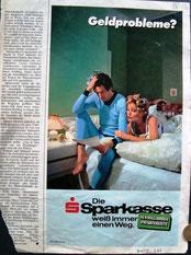 Geldprobleme? Die Sparkasse weiß immer einen Weg. Anzeige der Sparkasse im Magazin Bunte 1975.