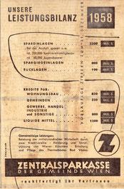 Bilanz der Zentralsparkasse 1958. Inserat von Traimer.