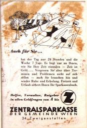 Inserat der Zentralsparkasse der Gemeinde Wien um 1956. Urlaub am Strand. Werbung: Sparkassenbuch.