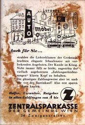 Inserat der Zentralsparkasse der Gemeinde Wien um 1956. Innenstadt. Werbung: Barkauf statt Ratenkauf.