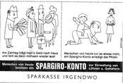 Zahltag, Überweisungen. Werbung für Spargiro-Konto der Sparkasse. Inserat, Entwurf um 1957.