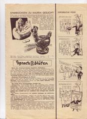 Weltspartag 1957. Wie kommt man an Geld. Inserat von Heinz Traimer in der Sparkassen-Familie 1957.
