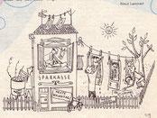Geldwäsche bei der Sparkasse. Inserat von Traimer in der Sparkassen-Familie 1957.