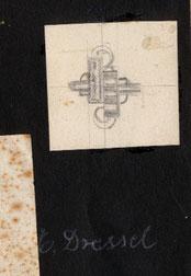 Schmuck-Entwurfszeichnung: Ring von Erwin Dressel Pforzheim 1930er Jahre.