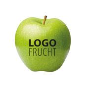 Logo Apfel, Logo Apfel Grün, Apfel bedruckt, Apfel mit Druck, Apfel bedrucken lassen, Apfel mit Firmenlogo
