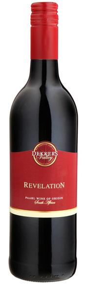 Mellasat RevelationDekker's Valley Revelation 2014   15.% Vol- Red blend:  Cabernet Sauv. 52%, Shiraz 35%, Tempranillo 13% Ein feiner und fruchtiger Rotwein hergestellt aus 3 bedeutenden südafrikanischen Rebsorten. Feine Tannine mit einer bemerkenswerten