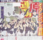 2008年10月11日  首位阪神と最大13ゲーム差を追い上げ、9月に12連勝などで逆転に成功。「メークレジェンド」と言われた。