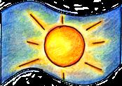 Landeswappen von Enfantesar. Gelbe Sonne auf blauem Hintergrund. (Buntstiftzeichnung)