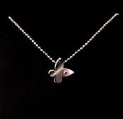 Pendentif femme et enfant, motif Papillon en Argent 925 et zirconium rose