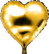 Folieballon Hart goud €1,50 46 cm