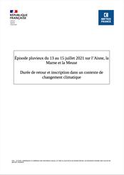 Episode pluvieux de juillet 2021, durée de retour. Météo France, 2021
