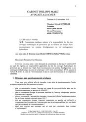 Consultation juridique, responsabilité des digues, 2019