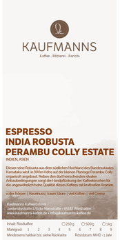 Espresso India Robusta Perambu Colly Estate