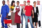 mueden.de Preisliste, Arbeitskleidung, Bild mit Gruppe Handwerker