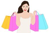 mueden.de, Preisliste, Werbpreise, Frau mit Einkaufstüten in der Hand
