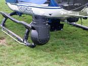 Caméra wescam installée à l'avant de l'hélicoptère.