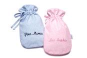Babywärmflasche Vichykaro hellblau, personalisiert