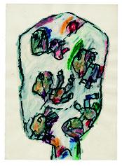François Dilasser, Sans titre, série Têtes, 1993, acrylique et fusain sur papier, collection particulière. © ADAGP, Paris, 2016.