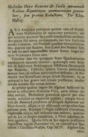 Edmund Halley (1684) Methodus Nova Accurata & facilis inveniendi Radices AEquationum quarumcumque generaliter, sine praevia Reductione