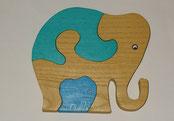 puzzle Eléphante vert jaune bébé bleu