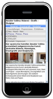 Amador Vallina: Mobile Homepage