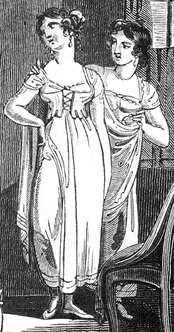 Regency underclothes (chemise and bodice) (Wikimedia, public domain)