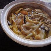 玄米すいとんピリ辛鍋