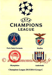 Programme pirate  2013-14  Champions League-Groupe C