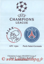 Programme pirate  Ajax-PSG  2014-15