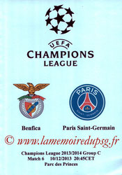 Programme pirate  Benfica-PSG  2013-14