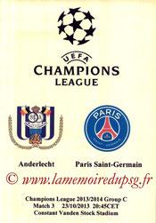 Programme pirate  Anderlecht-PSG  2013-14