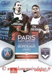Programme  PSG-Bordeaux  2013-14