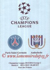 Programme pirate  PSG-Anderlecht  2013-14