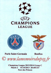 Programme pirate  PSG-Benfica  2013-14