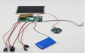 Video-Card Einzelteile Monitor Platine Anschlusskabel Accu Lautsprecher