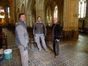Charles Savatier avec les ouvriers de l'entreprise Becquet de Nogent le Rotrou
