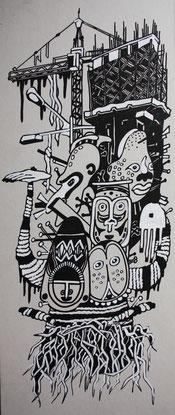 Voodoo, 2013, Mixed Media auf Karton, 0,25 x 0,5 m
