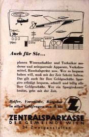 Inserat der Zentralsparkasse der Gemeinde Wien um 1956. Hubschrauber und Flugzeuge. Werbung: Spargirokonto.